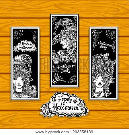 Set creative bookmarks for coloring on Halloween with witches black and white or creative stickers or for banners