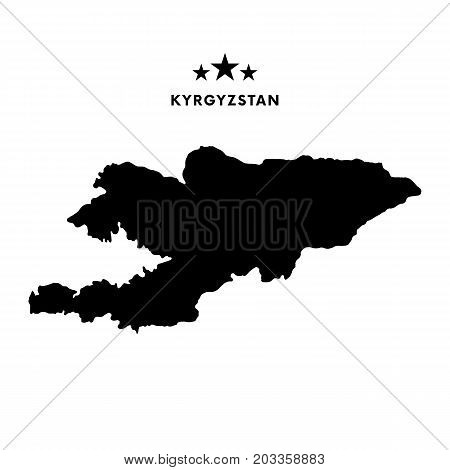Kyrgyzstan map. Stars and text. Vector illustration.