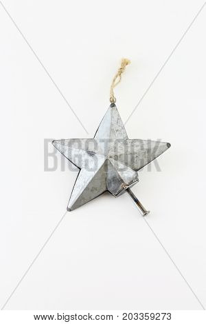 Amputee metal holiday hope star isolated on white
