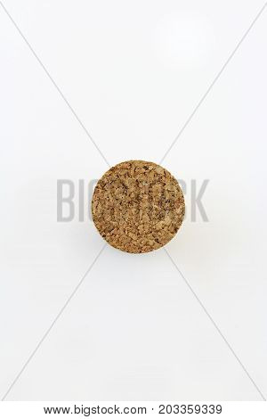 Top view of cork stopper isolated on white