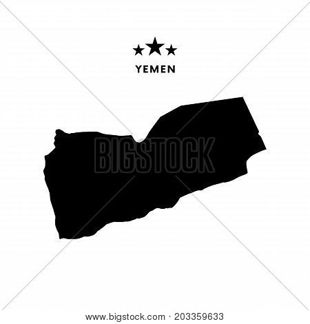 Yemen map. Stars and text. Vector illustration.