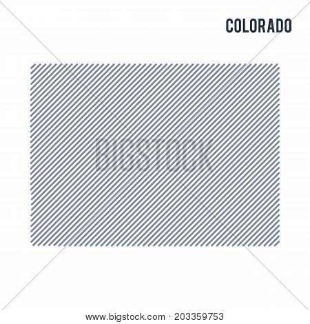 Vector Abstract Hatched Map Of State Of Colorado With Oblique Lines Isolated On A White Background.