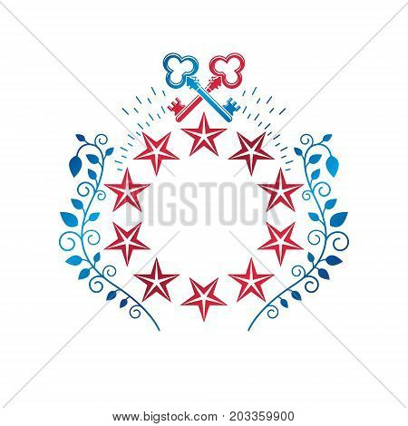 Ancient pentagonal Star emblem decorated with keys and floral ornament security theme. Heraldic vector design element guard symbol. Retro style label heraldry logo.