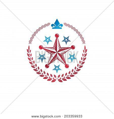 Military Star emblem decorated with royal lily flower and laurel wreath. Heraldic vector design element 5 stars guaranty insignia. Retro style label heraldry logo.