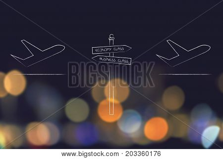 Airplanes With Economy And Business Class Road Sign In Between Them