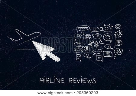 Airplane With Cursor Clicking On It Next To Group Of Comments