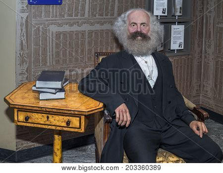 Berlin - March 2017: Karl Marx wax figure in Madame Tussaud's museum