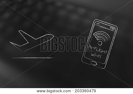 Airplane Next To Smartphone With In-flight Wi-fi Connection