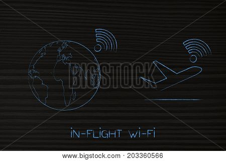 Airplane And World Globe With Wi-fi Connection Established