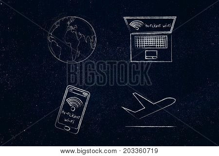 World Globe And Airplane Next To Electronic Devices With In-flight Wi-fi
