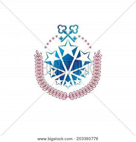 Ancient pentagonal Star emblem decorated with keys and laurel wreath security theme. Heraldic vector design element guard symbol. Retro style label heraldry logo.