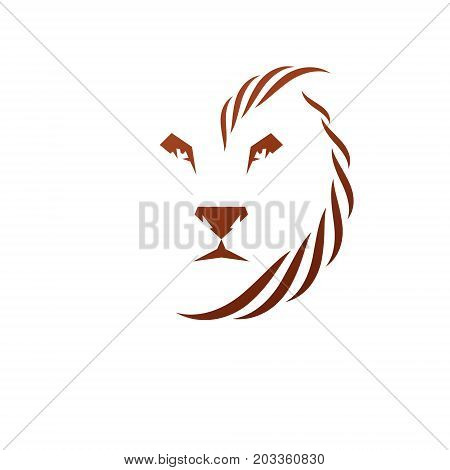 Brave Lion King face emblem animal element. Heraldic Coat of Arms decorative logo isolated vector illustration.