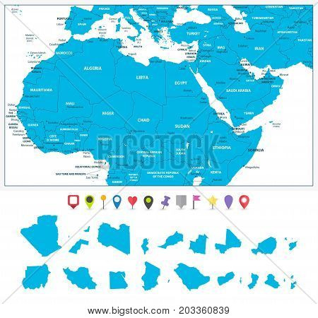 Highly detailed political map of Northern Africa and the Middle East with it's states and flat map pointers