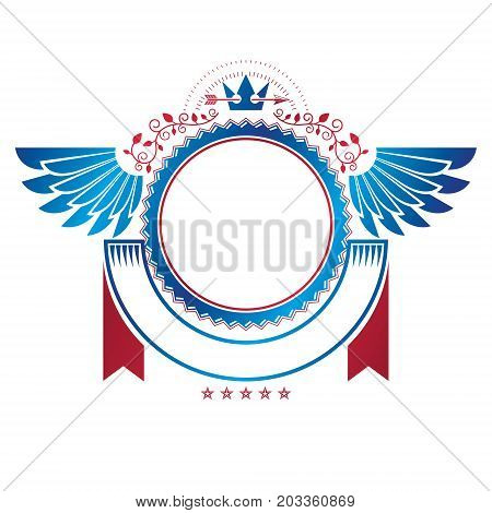 Graphic winged emblem created with ancient Crown and sharp spear. Heraldic vector design element decorated with ribbon. Retro style label heraldry logo.