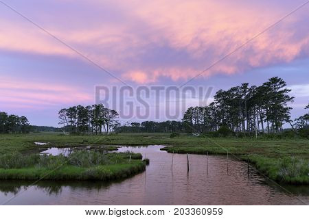 Colorful Sky and Clouds Along Coastal Wetlands