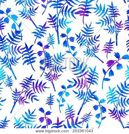 seamless pattern with brush flowers and leaves plant . Blue watercolor color on white background. Hand painted grange texture. Ink forest elements. Fashion modern style. Endless fabric print. Unusual and teen