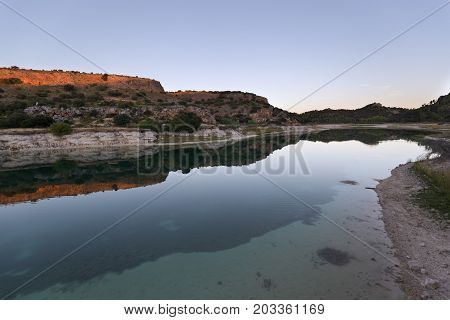 Landscape In The Lagoons Of Ruidera At Sunset.