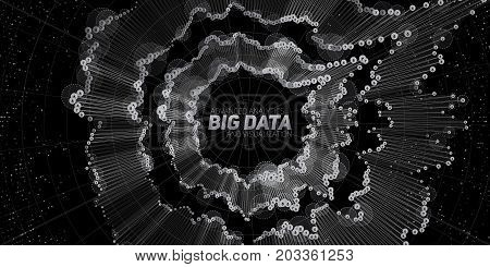Big data circular visualization. Futuristic infographic. Information aesthetic design. Visual data complexity. Complex data threads graphic. Social network representation. Grayscale graph.