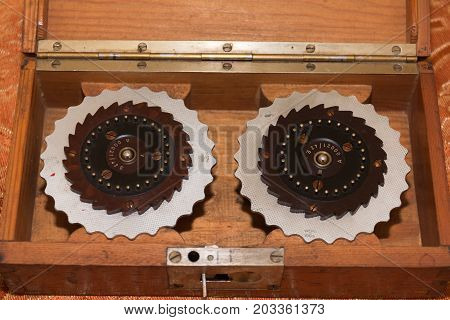 Parma, Italy - july 2015: Rotor Machine Enigma Cipher Coding Machine from World War II