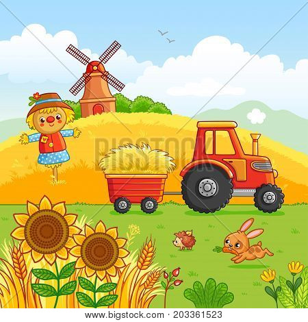Tractor carries a hay in a cart through a meadow. Vector illustration with a farm technique in a cartoon style. It was laid out mill and animals in the field.
