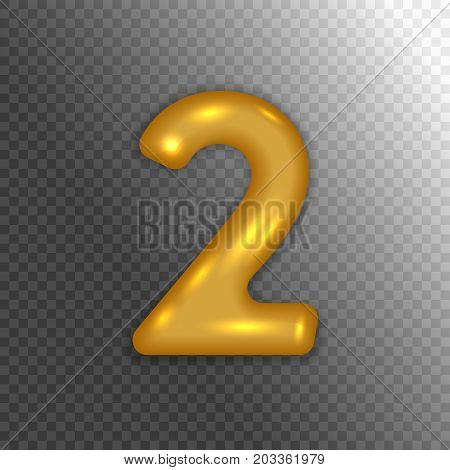 Golden number two 2 isolated on transparent background. Anniversary sign for happy holiday, celebration, birthday, carnival, new year. Vector illustration.