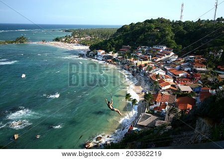View Of The First, Second And Third Beach From The Lighthouse. Morro De Sao Paulo. Brazil.