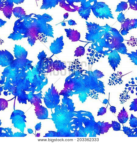 seamless pattern with brush flowers and leaf. Blue watercolor color on white background. Hand painted grange texture. Ink forest elements. Fashion modern style. Endless fabric print. Unusual and teen