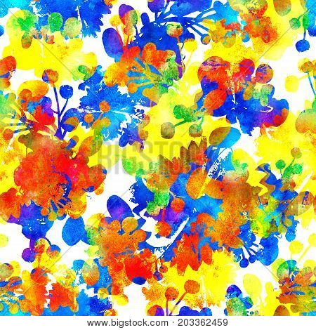 seamless pattern with brush flowers and leaves plant . Rainbow watercolor color on white background. Hand painted grange texture. Ink forest elements. Fashion modern style. Endless fabric print. Unusual and teen art