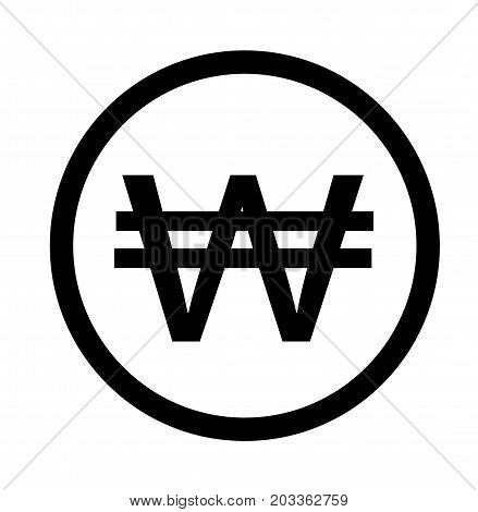 currency icon. Korean won sign. Korean won on white background.