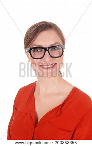 A beautiful young woman with black framed glasses looking into the camera with nice blue eyes isolated for white background