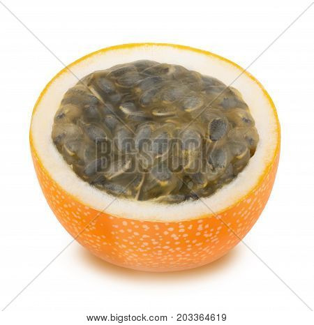 Half of granadilla with juicy pulp isolated on a white background.