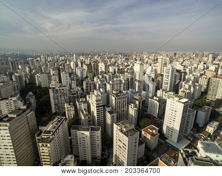 Sao Paulo Brazil August 2017. Aerial view on Hospital das clinicas in Sao Paulo city
