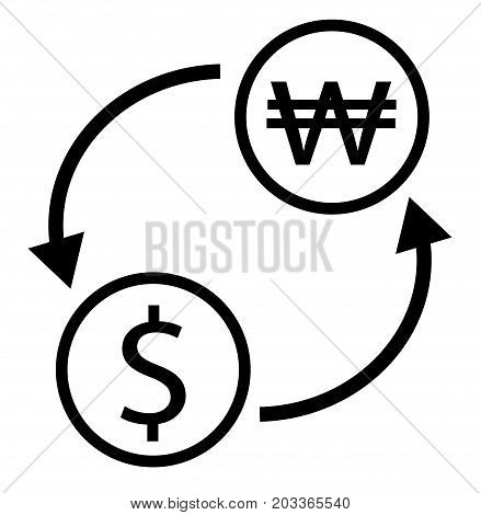 dollar korean won exchange icon. exchange money on white background. dollar korean won exchange sign.