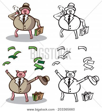 illustration on white background pig rich businessman calling on the phone and puts the money up.