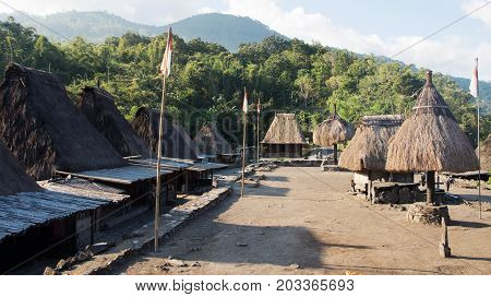 Bena A Traditional Village With Grass Huts Of The Ngada People In Flores Near Bajawa, Indonesia.
