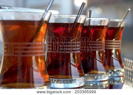Turkish tea. Tea served in Turkish style. Food & Beverages, Tea - Hot Drinks