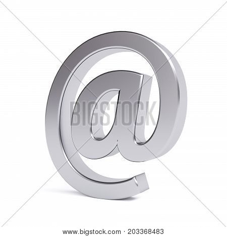 Metal email symbol isolated on white. 3d image