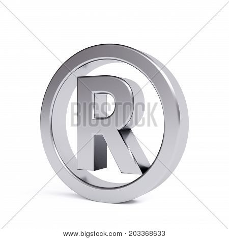 Metal registered trademark isolated on white. 3d image