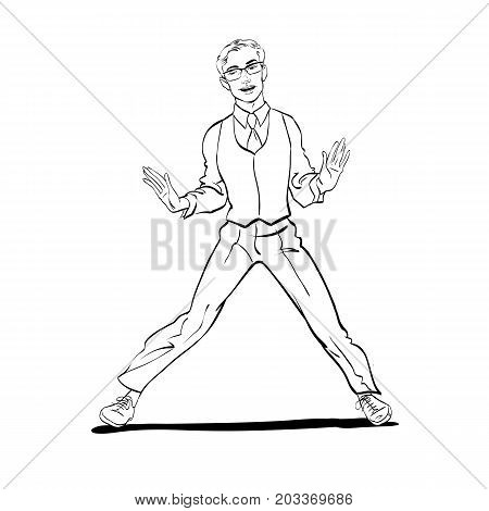 A man dancing Charleston. Concept idea of advertisement. Halftone background.