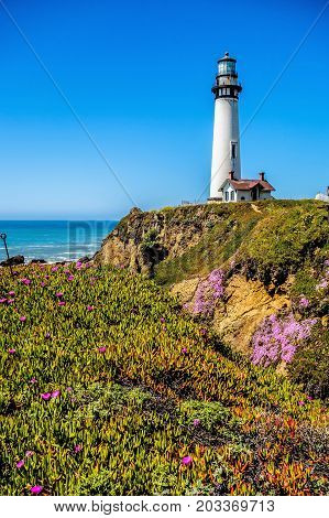 Lighthouse Standing On Big Sure California Coastline On Pacific Ocean