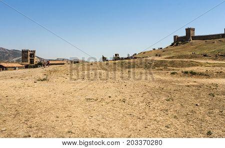 Sudak, Crimea - 12 July, Fortifications of the ancient fortress, 12 July, 2017. Genoese ancient fortress near the city of Sudak.
