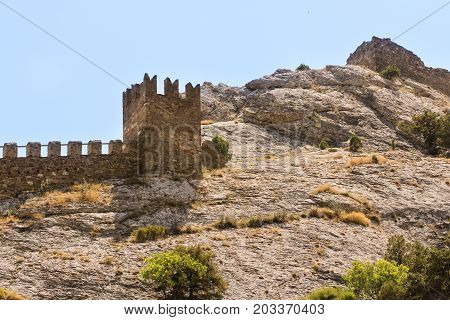 The Nameless Tower of the Genoese Fortress. Genoese ancient fortress near the city of Sudak.
