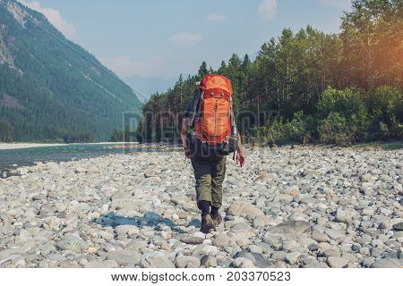Healthy Active Man With Backpack Hiking In Beautiful Mountain Forest In The Summer In The Sun