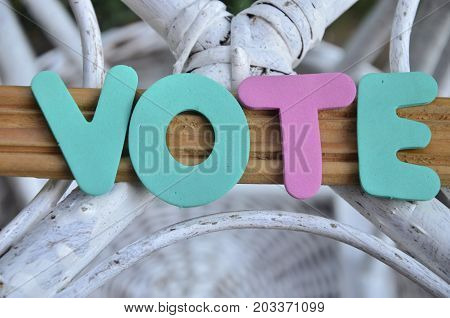 word vote on a  abstract colorful background