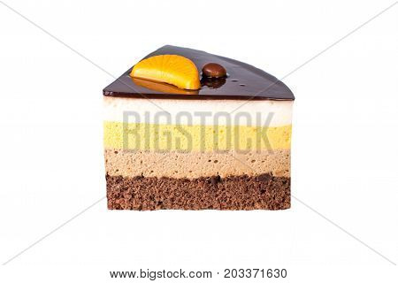 Isolated Orange Chocolate Cake With Layers Of Delicate Souffle, A Delicious Homemade Dessert.