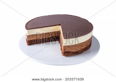 Insulated Chocolate Cake Made Of Three Different Chocolate Mousse Layers , White , Milk And Dark Wit