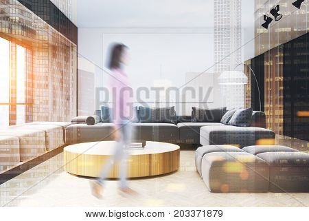 White And Wooden Living Room Interior, Girl