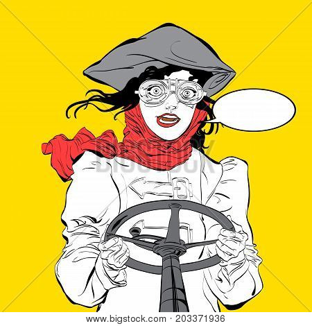 Young smiling driver. Girl pilot. Woman pilot. Air sport. Smiling pilot. Concept idea of advertisement and promo. Halftone background. Pop art retro style illustration.