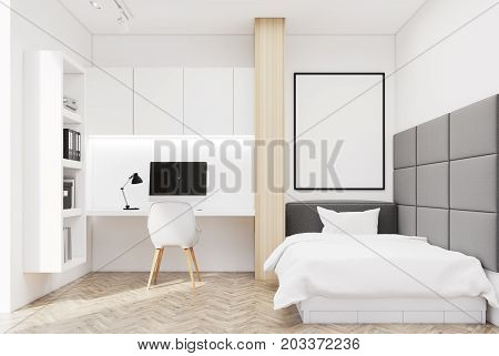 White Wall Bedroom And Home Office, Single