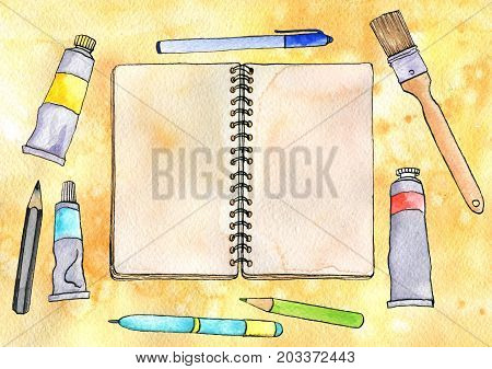 watercolor artistic workspace, hand drawn mock up, sketchbook, brushes and pencils at yellow background, painting illustration